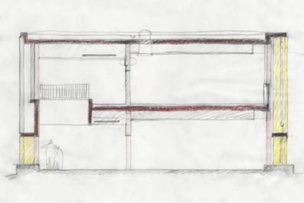 Esquisso de projecto. Corte transversal pelo novo edifício principal.
