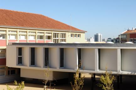 Vista do corpo da nova biblioteca.