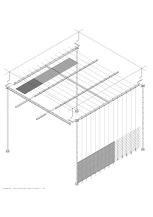Axonometria da estrutura e revestimento da cobertura